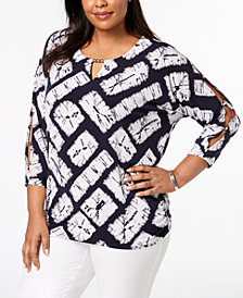 JM Collection Plus Size Embellished Dolman-Sleeve Top, Created for Macy's