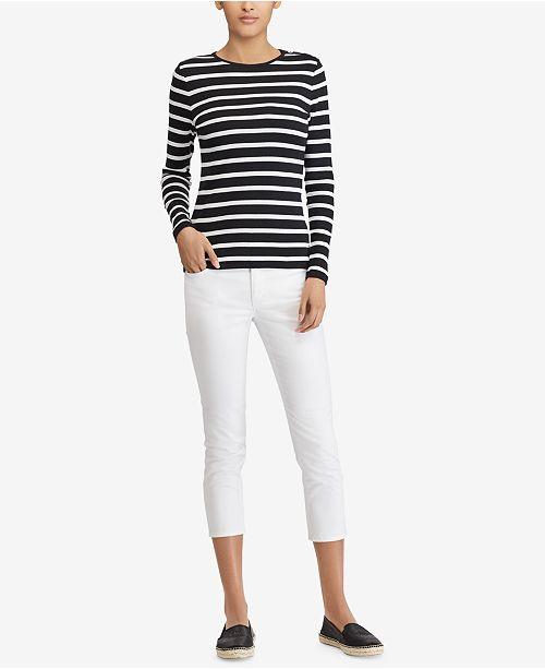 f89e74c2 Lauren Ralph Lauren Button-Shoulder Striped Top & Reviews - Tops ...