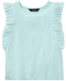 Polo Ralph Lauren Flutter-Sleeve Top, Big Girls