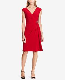American Living Cap-Sleeve Draped Brooch Dress