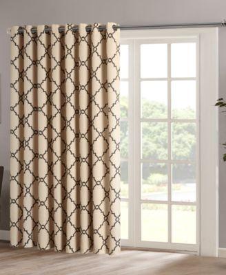 "Saratoga 100"" x 84"" Fretwork-Print Grommet Patio Curtain Panel"