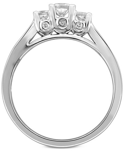 Diamond Princess Trio Engagement Ring (1/2 ct. t.w.) in 14k White Gold