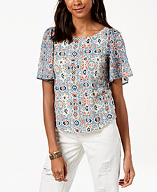 Lucky Brand Printed Cutout-Back Top