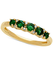 Emerald (1/2 ct. t.w.) & Diamond Accent Ring in 10k Gold
