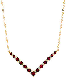 "Certified Ruby (1-1/5 ct. t.w.) & Diamond Accent Chevron 17"" Collar Necklace in 10k Gold"