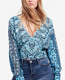 Free People Wild And Free Printed Smocked Top