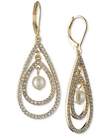 Anne Klein Gold-Tone Imitation Pearl & Pavé Orbital Drop Earrings
