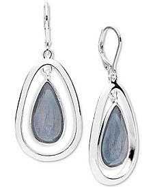 Silver-Tone Colored Imitation Mother-of-Pearl Drop Earrings