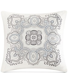 "Design Larissa Embroidered Cotton 18"" X 18"" Decorative Pillow"