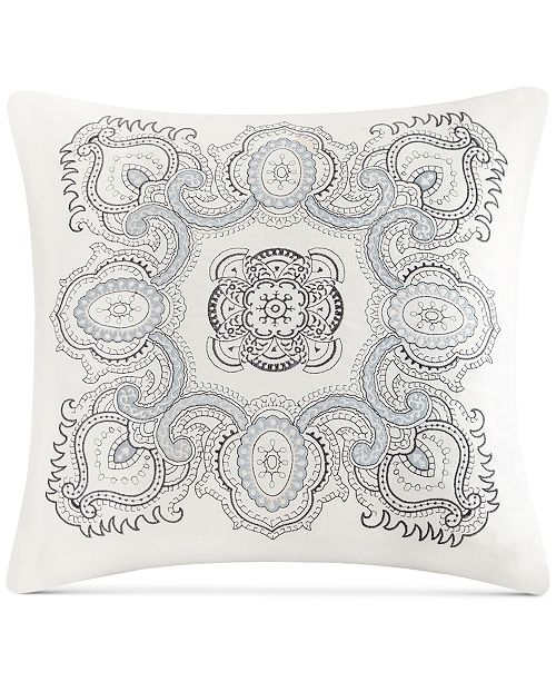 "Echo Design Larissa Embroidered Cotton 18"" X 18"" Decorative Pillow"