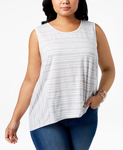 Style & Co Cotton Striped High-Low Hem Sleeveless Top, Created for Macy's