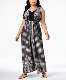 Style & Co Plus Size Printed Crochet-Trim Empire-Waist Maxi Dress, Created for Macy's