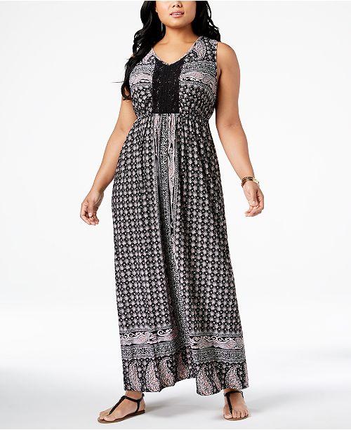 Style & Co Plus Size Printed Crochet-Trim Empire-Waist Maxi ...