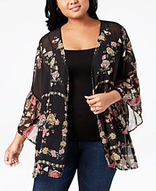 Style & Co Plus Size Printed Sheer Kimono, Created for Macy's