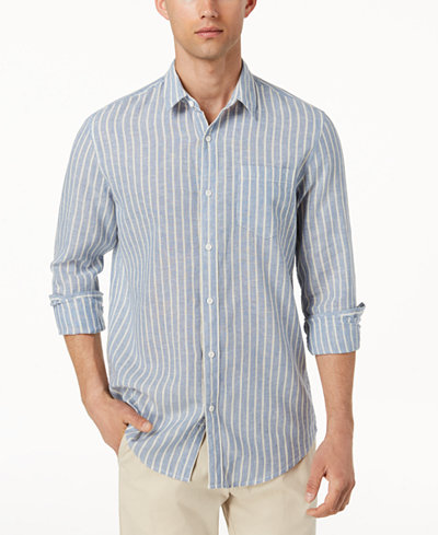American Rag Men's Chevy Linen Striped Shirt, Created for Macy's
