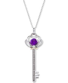 "Gemstone & Diamond Accent Key 18"" Pendant Necklace in Sterling Silver & 10k Gold"