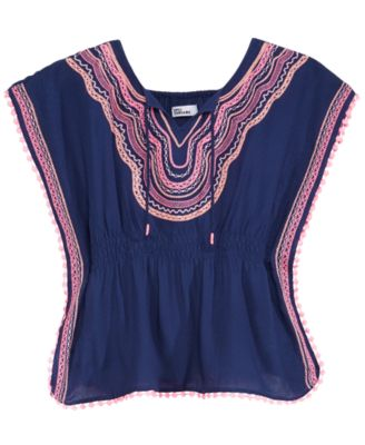 Embroidered Caftan Top, Big Girls, Created for Macy's