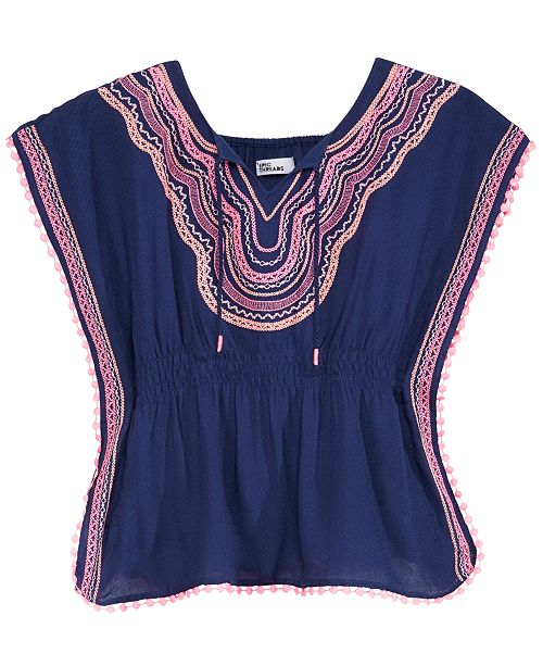 Epic Threads Embroidered Caftan Top, Big Girls, Created for Macy's