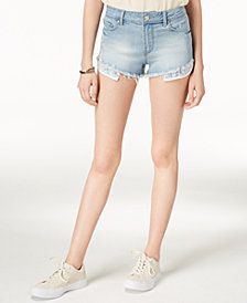 Indigo Rein Juniors' Ripped Exposed-Pocket Denim Shorts