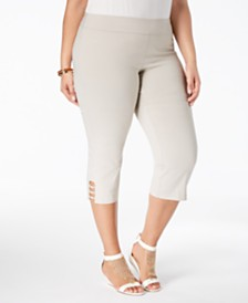 JM Collection Plus Size Tummy Control Capri Pants, Created for Macy's
