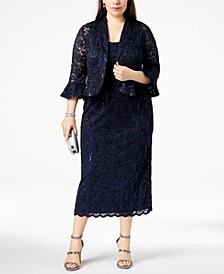 Plus Size Lace Dress & Ruffled Jacket