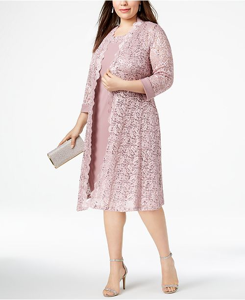 R & M Richards Plus Size Dress & Sequined Lace Duster Jacket ...