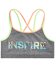 Ideology Graphic-Print Strappy-Back Sports Bra, Big Girls, Created for Macy's