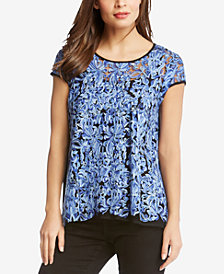 Karen Kane Embroidered Colorblocked Top