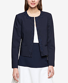 Tommy Hilfiger Lace-Trim Open-Front Jacket