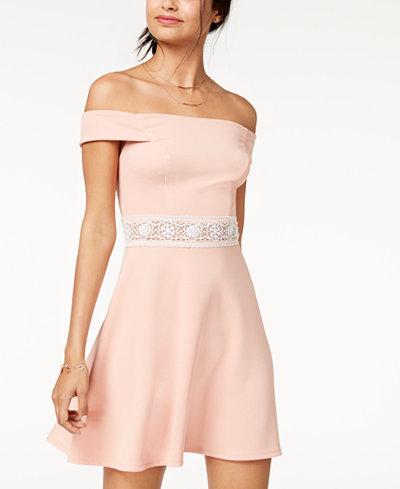 Teeze Me Juniors' Off-The-Shoulder Fit & Flare Dress