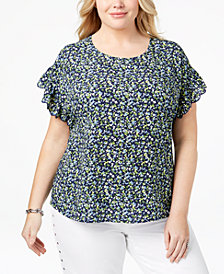 MICHAEL Michael Kors Plus Size Printed Ruffle-Sleeve Top