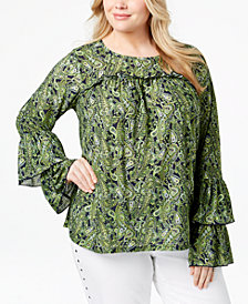MICHAEL Michael Kors Plus Size Tiered-Sleeve Top