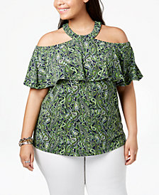 MICHAEL Michael Kors Plus Size Printed Cold-Shoulder Halter Top