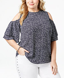 MICHAEL Michael Kors Plus Size Printed Cold-Shoulder Top