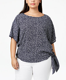 MICHAEL Michael Kors Plus Size Printed Tie-Hem Top