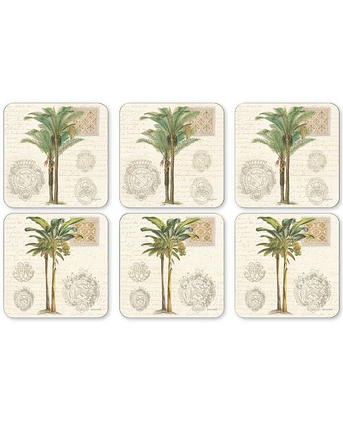 Portmeirion Pimpernel Vintage Palm Study Set of 6 Coasters