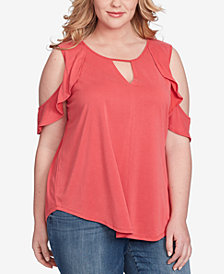 Jessica Simpson Trendy Plus Size Pearlina Cold-Shoulder Top
