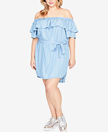 RACHEL Rachel Roy Trendy Plus Size Chambray Off-The-Shoulder Dress