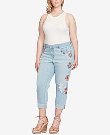 Jessica Simpson Trendy Plus Size Embroidered Straight-Leg Jeans