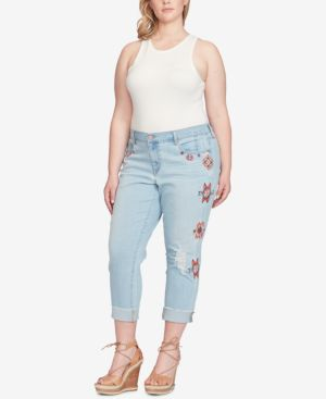 Jessica Simpson Trendy Plus Size Embroidered Straight-Leg Jeans 6162365