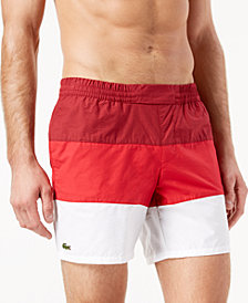 "Lacoste Men's 6.75"" Colorblocked Swim Trunks"