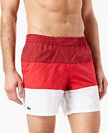 "Lacoste Men's 6.75"" Colorblocked Swim Trunks"