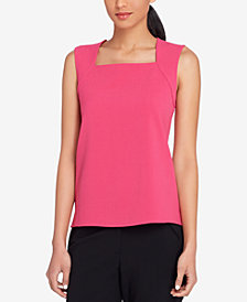 Tahari ASL Square-Neck Crepe Shell