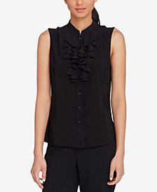 Tahari ASL Ruffled Stand-Collar Shell