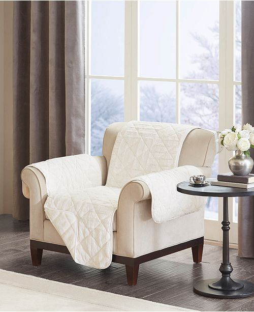 madison park arctic quilted checkerboard long faux fur chair protector reviews slipcovers home decor macy s madison park arctic quilted