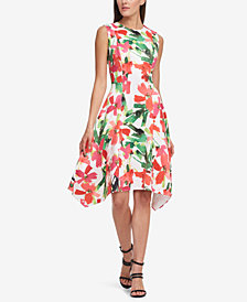DKNY Stamped Floral Scuba A-Line Dress, Created for Macy's