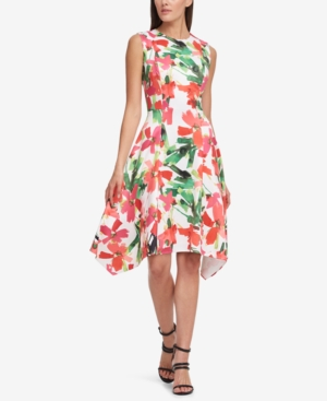 Dkny Stamped Floral Scuba A-Line Dress, Created For Macy'S In Coral Multi