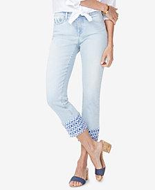 NYDJ Sheri Printed-Hem Ankle Skinny Jeans