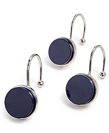 kate spade new york Inset Navy Dot 12-Pc. Shower Curtain Hook Set