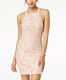 City Studios Juniors' Strappy Lace Bodycon Dress